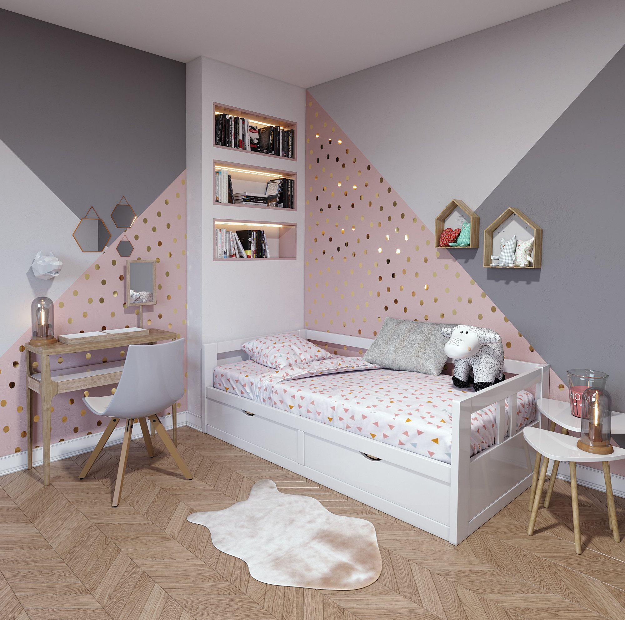 Chambre d\'enfant contemporaine rose blanche beige bois ...