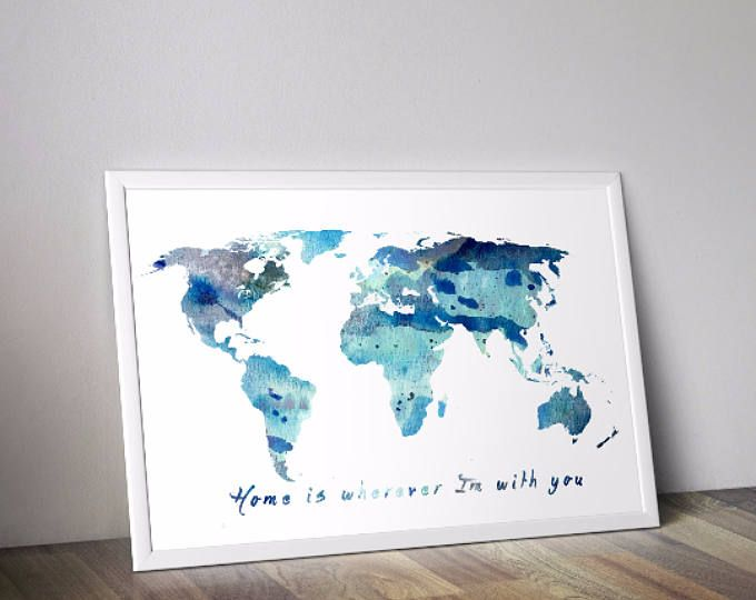 Digital download map print blue watercolor quote wall art digital download map print blue watercolor quote wall art printable world map gumiabroncs Image collections