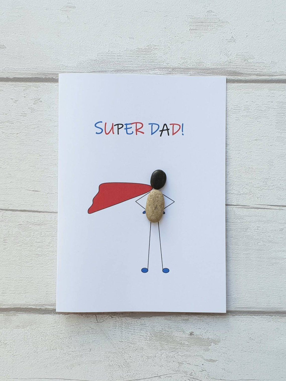 Funny birthday card for dad, fathers day card, Super Dad handmade card, unique pebble art card - Sahra&Vatertag