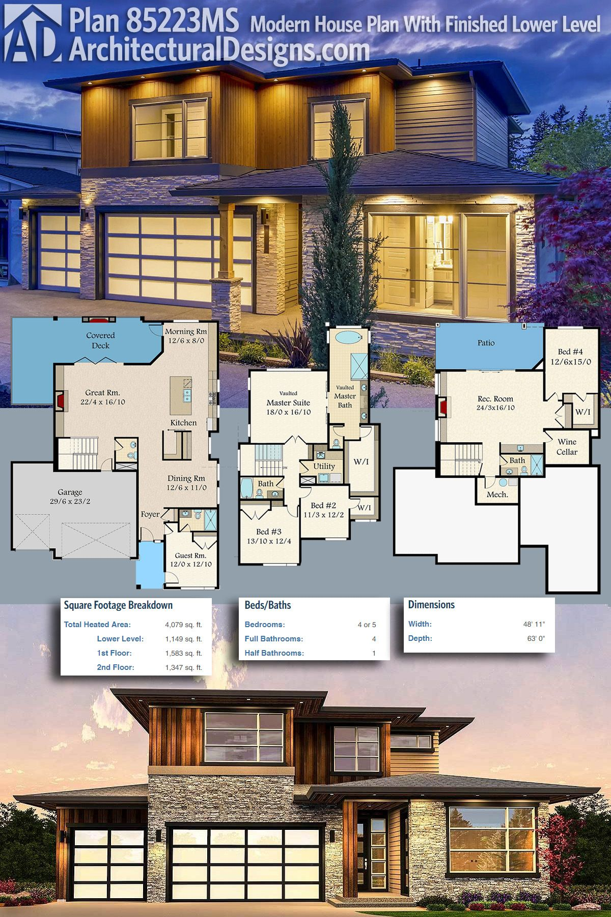 Plan 85223MS: Modern House Plan With Finished Lower Level