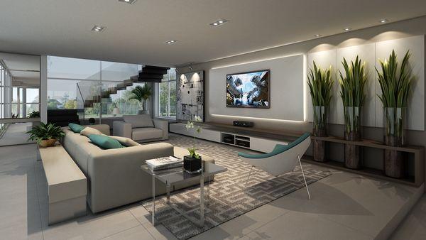Mobili Rampazzo ~ Sala em cinza e branco com tv na parede indoor movie nights
