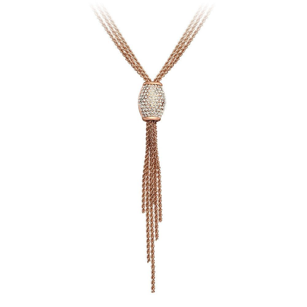 Lenora jewelry rose gold plated rhinestone tassel pendant necklace