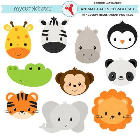 Wild Animal Faces Clipart Set – giraffe, crocodile, panda, lion, tiger, animal faces – personal use, small commercial use, instant download