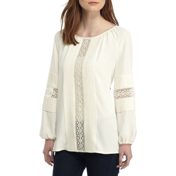 Anne Klein Lace Inset Blouse 74 Liked On Polyvore Featuring