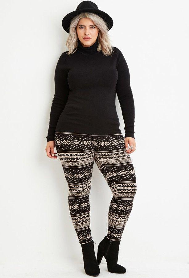 Plus Size Fair Isle-Patterned Leggings | Plus Size Fashion ...