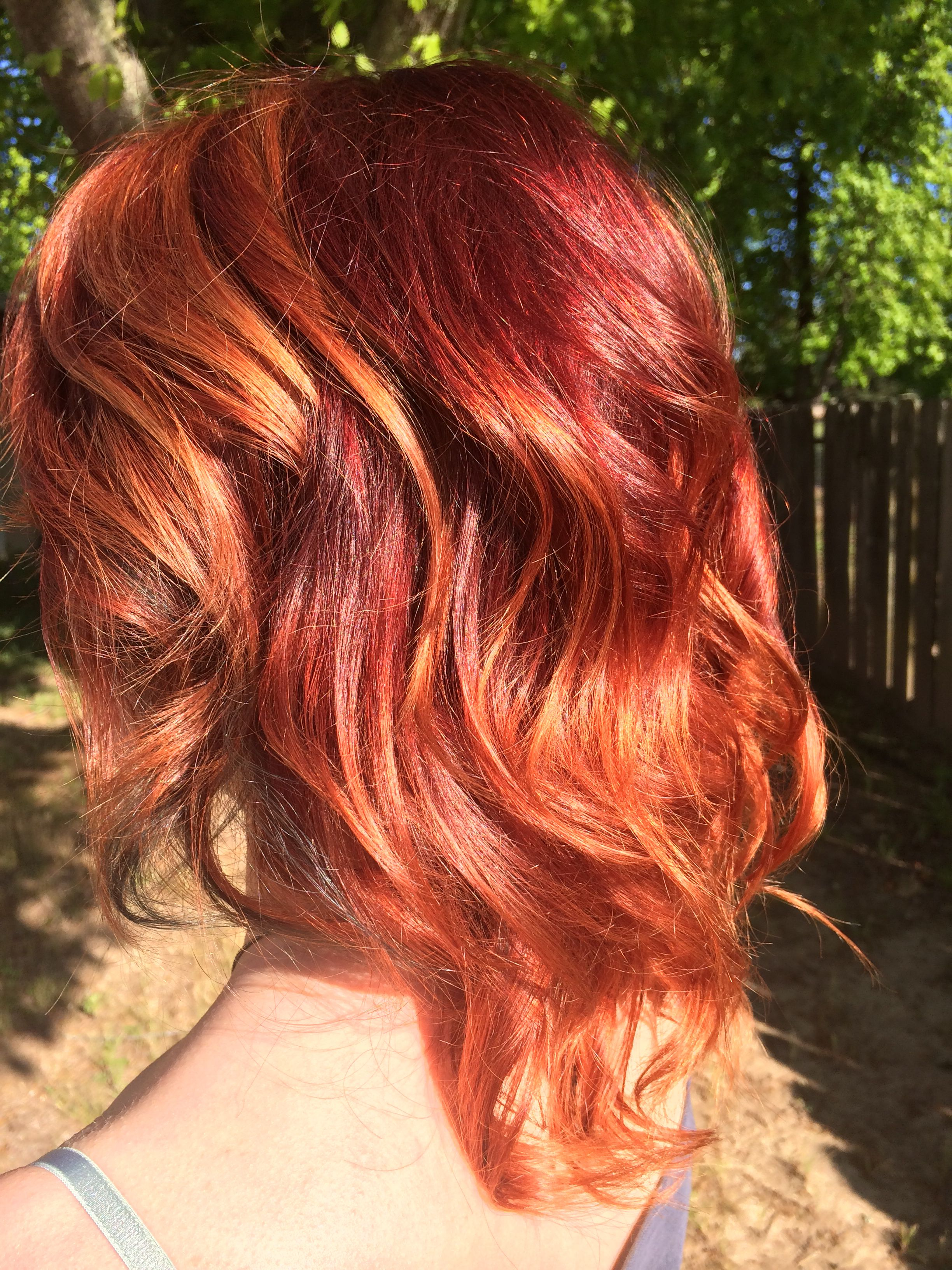 Fiery Red To Copper Balayage Ombr 233 On Short To Medium
