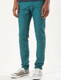 Topman Turquoise Green Skinny Chinos