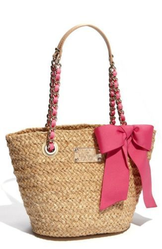 Kate Spade Large Coal Chain Strap Pink Bow Straw Tote Bag Purse