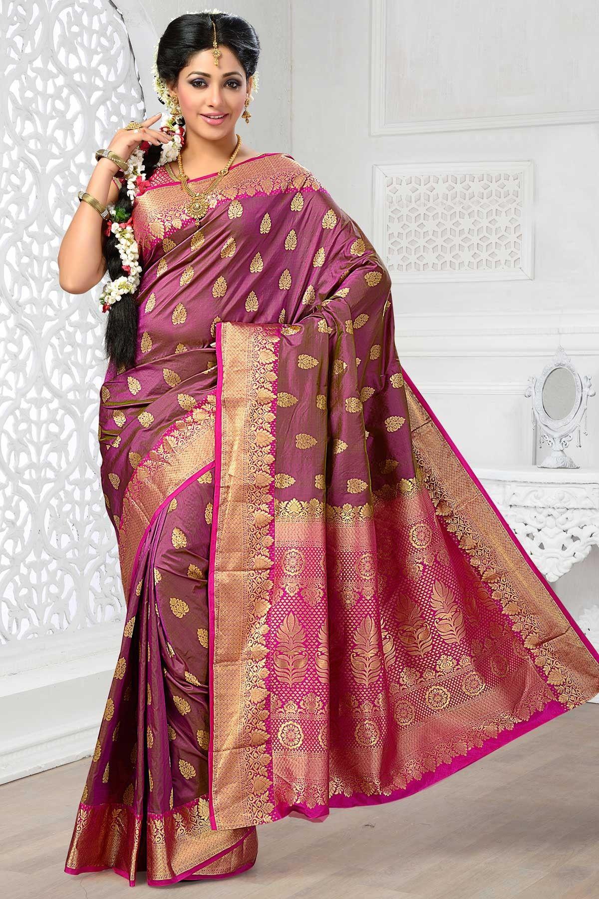 Yellow cotton saree for wedding art silk violet beauteous zari weaved saree with rani pink u gold