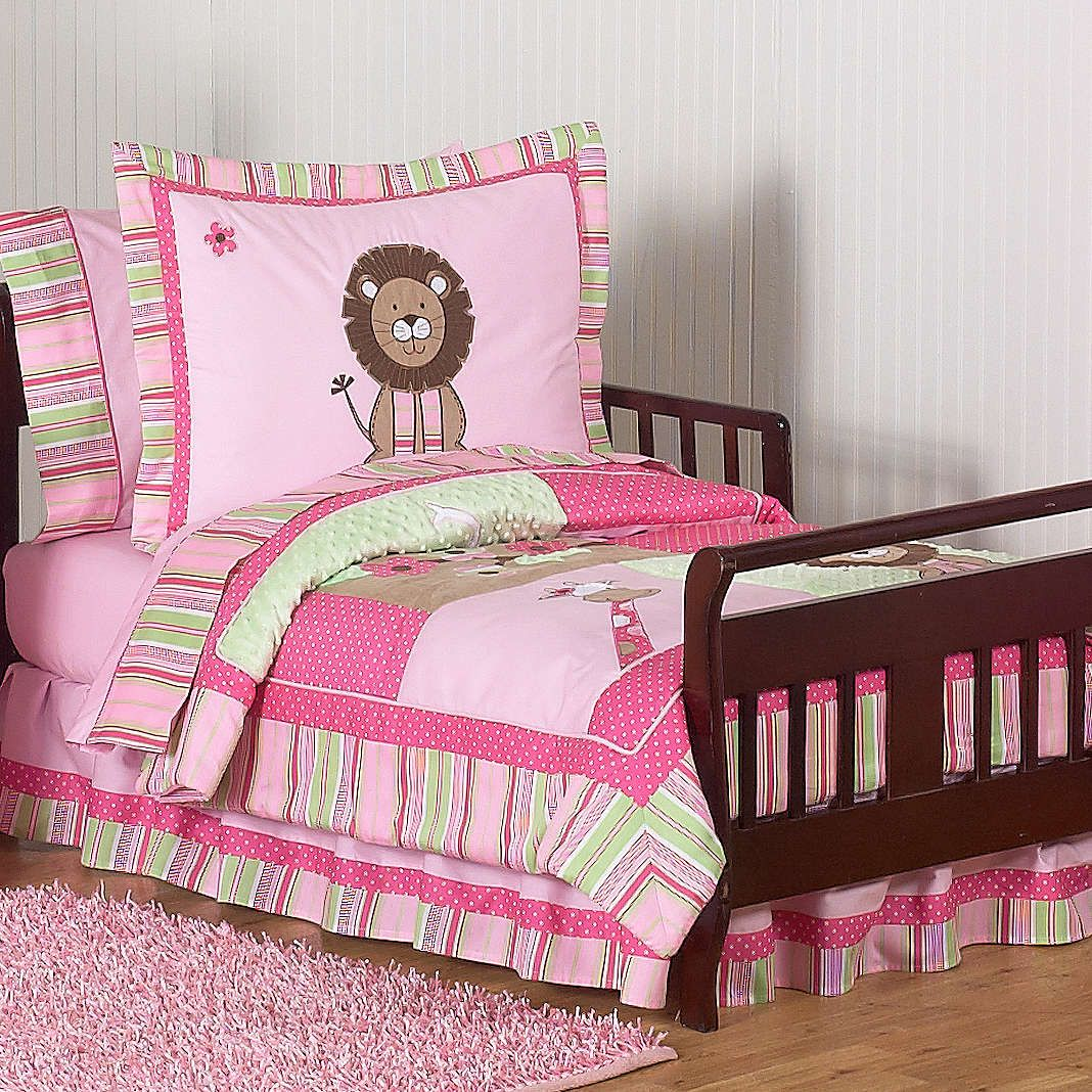 Best Safari Themed Toddler Bed Girls Jungle Friends Pink And 400 x 300