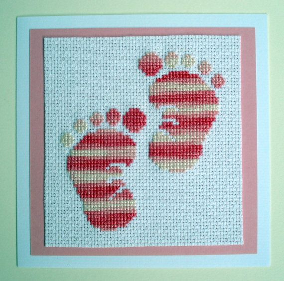 Pink Cross Stitched Baby Footsteps Card by TanyasHandMade on Etsy, $8.50