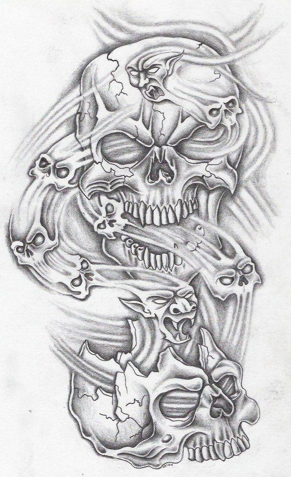 Ten Skullz By Markfellows On Deviantart Skull Sleeve Tattoos Skulls Drawing Evil Skull Tattoo