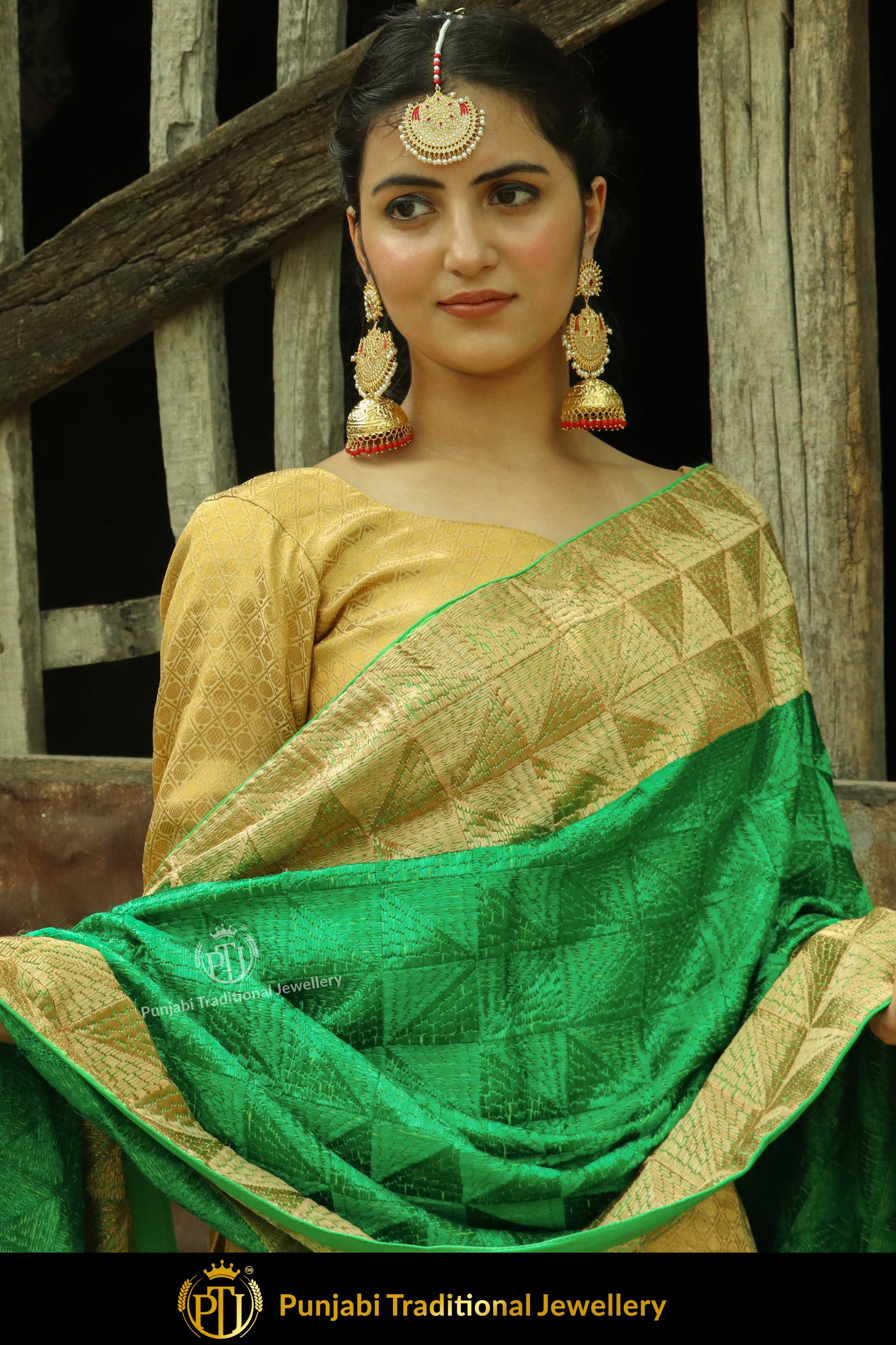 Golden green color pure phulkari dupatta by punjabi