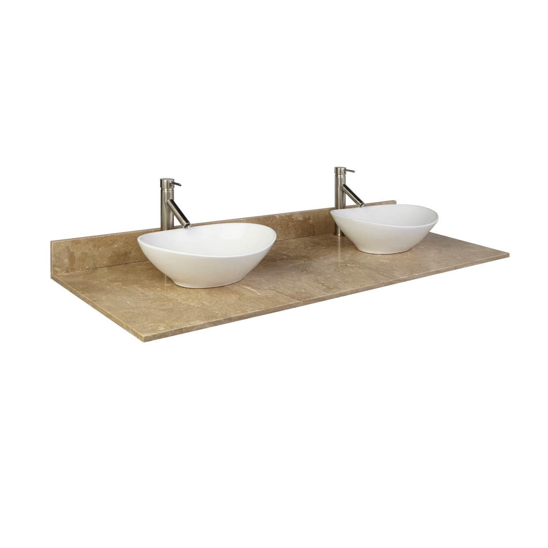 61 X 22 Travertine Double Vessel Sink Vanity Top Bathroom Renos