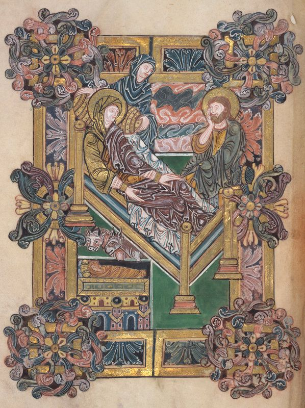 The nativity ~ Image from 'Benedictional of St. Aethelwold', c. 971-984.