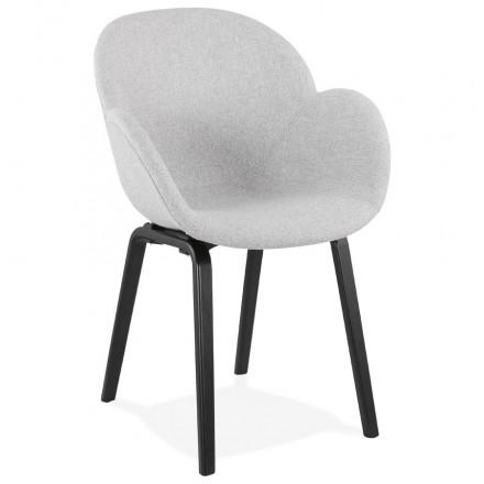 Chaise Design Scandinave Avec Accoudoirs Calla En Tissu Pieds Couleur Noire Gris Clair Chaise Design Fauteuil Design Meuble De Style