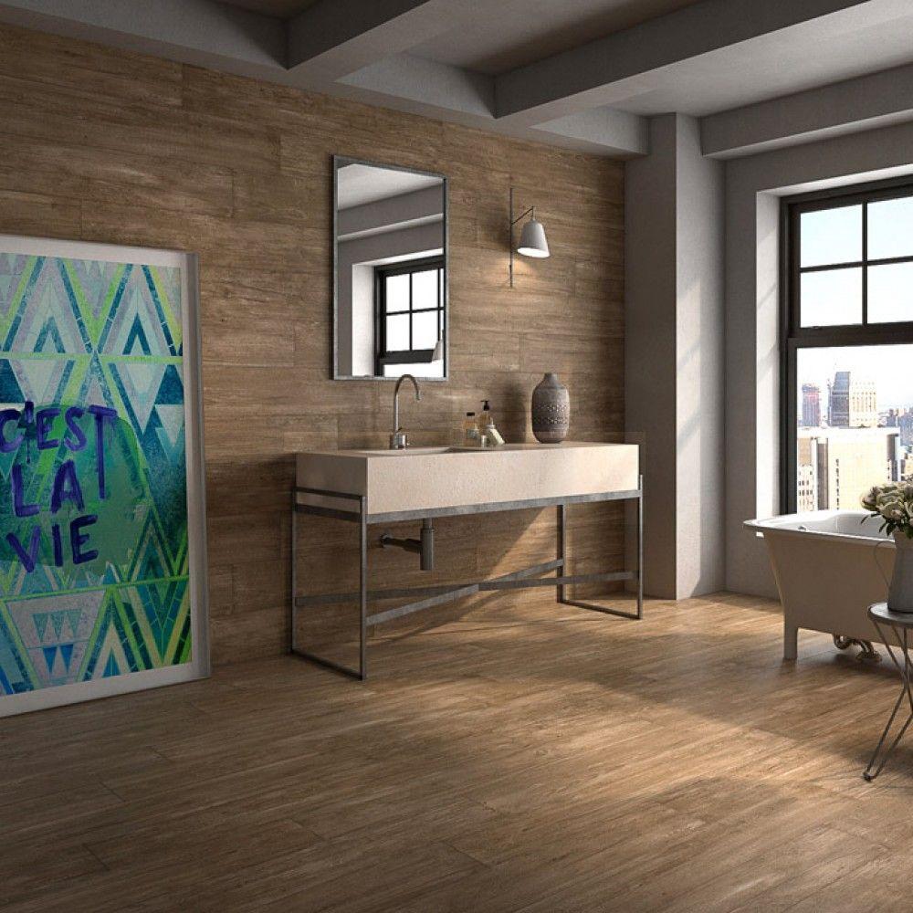 Arteak Castano Wood effect tiles, Wood effect floor