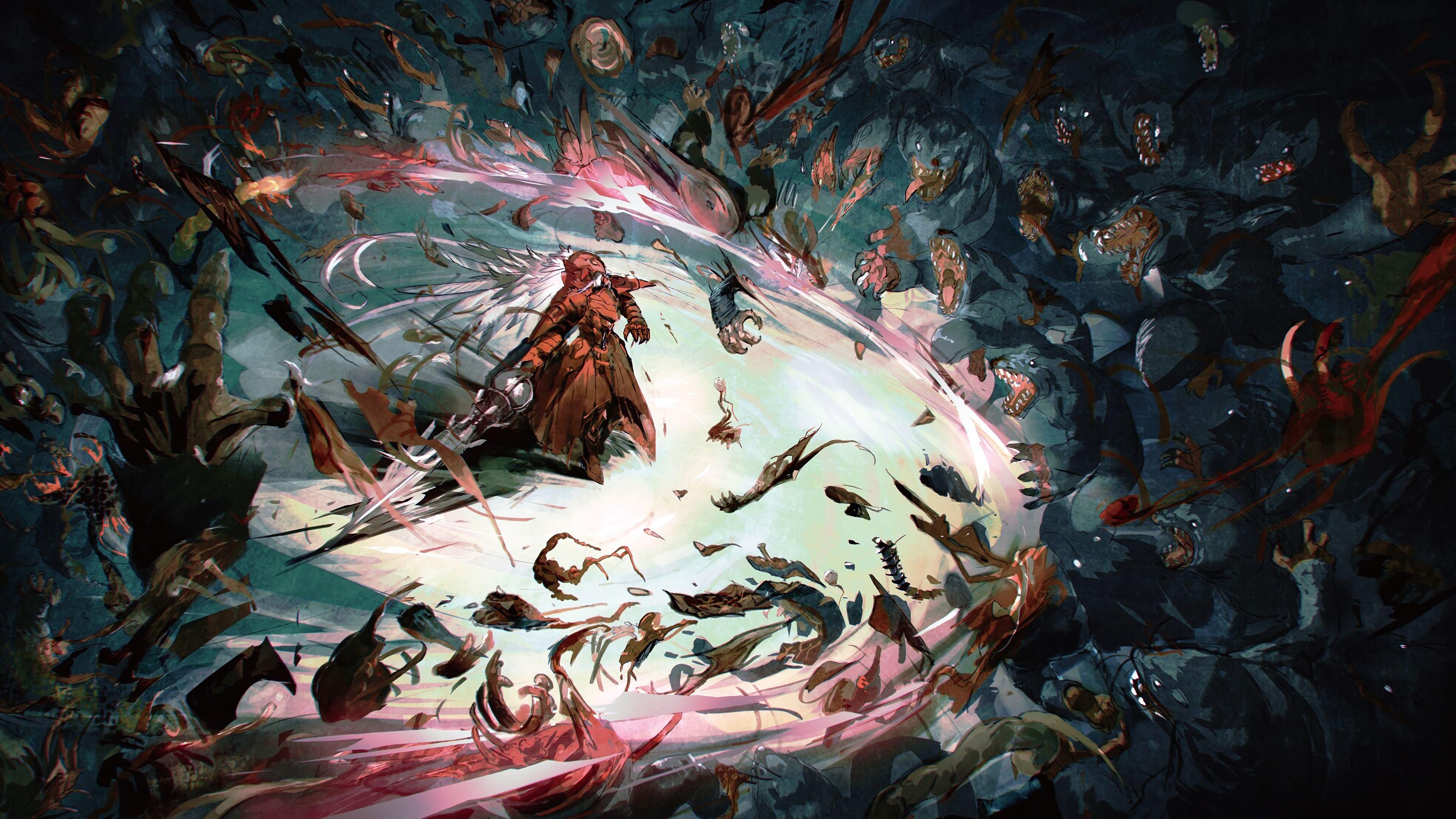 Overlord Anime Shalltear Bloodfallen Knight Fighting 3840x2160 Wallpaper Shalltear Bloodfallen Overlord Anime Overlord Anime Wallpapers 10 overlord anime wallpaper