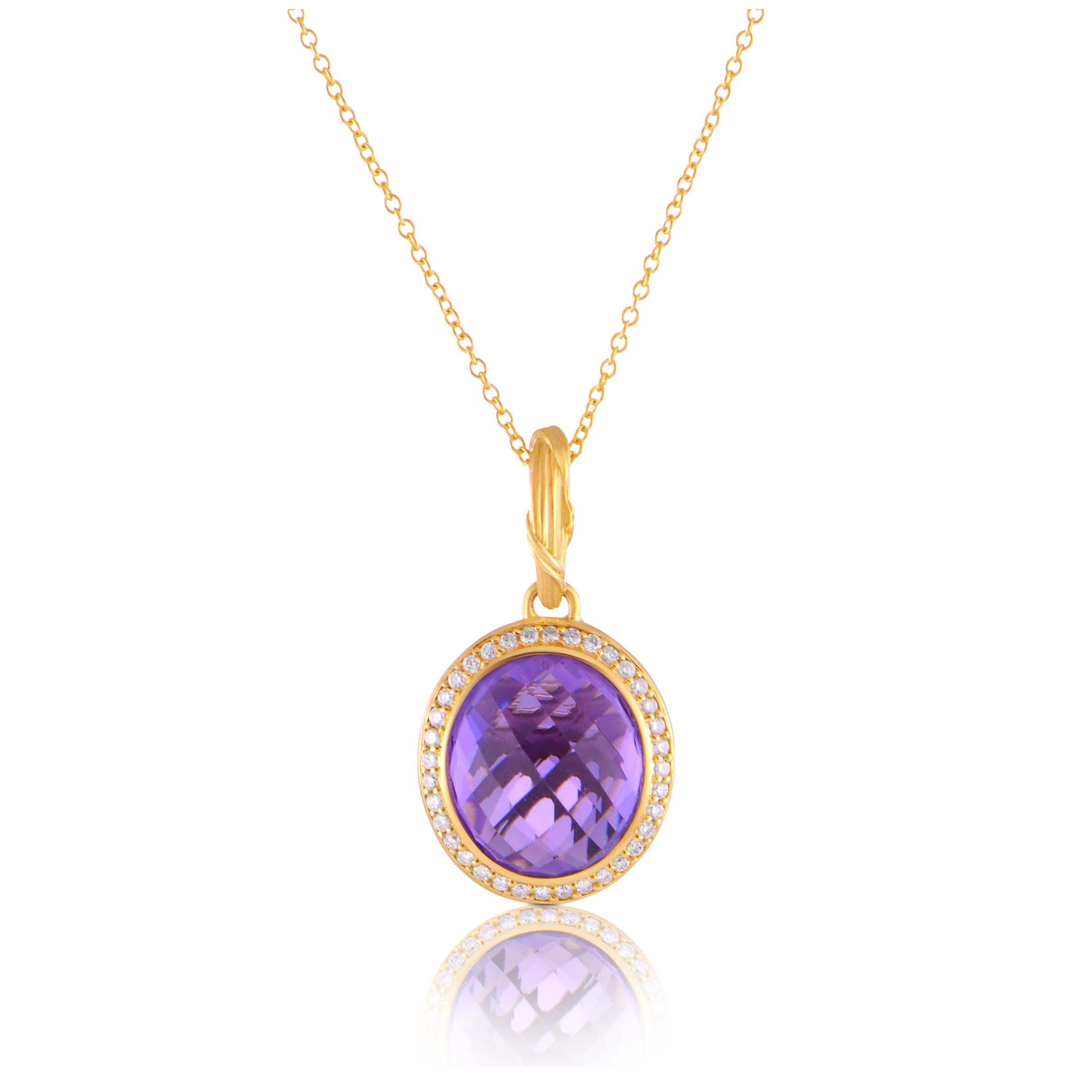 31d04d44baa8 RIBBON   REED FANTASIES AMETHYST HALO PENDANT NECKLACE IN DIAMONDS AND 18K  GOLD Peter Thomas Roth s iconic Ribbon   Reed motif sets the stage for  Fantasies