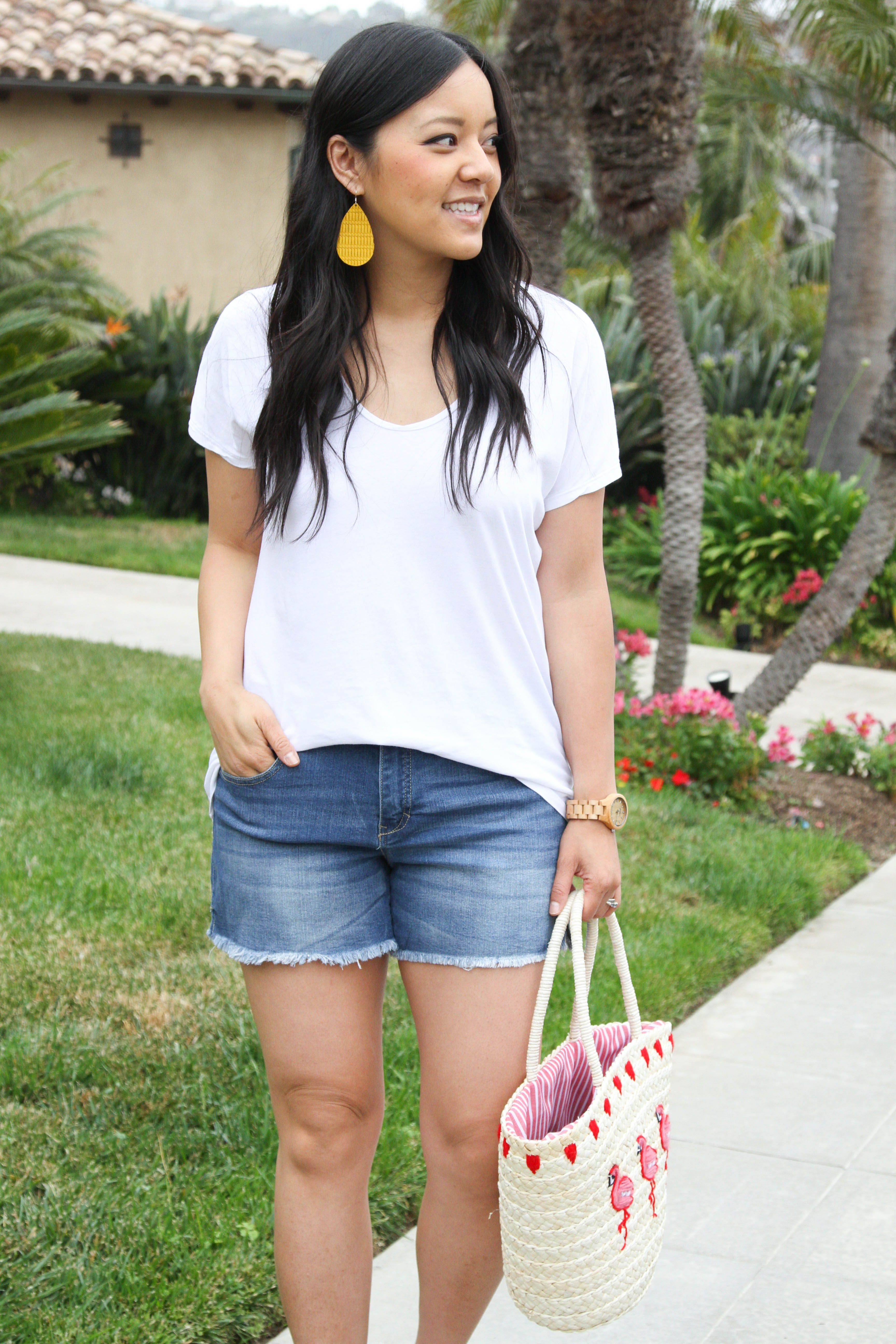 White Tee + Jean Shorts + Straw Tote + Statement Earrings #Exploring #getaway #jean shorts #long shorts #modest shorts #nike shorts #Outfits #Relaxing #shorts #shorts outfits #Summer #summer shorts #Swimming #WEEKEND