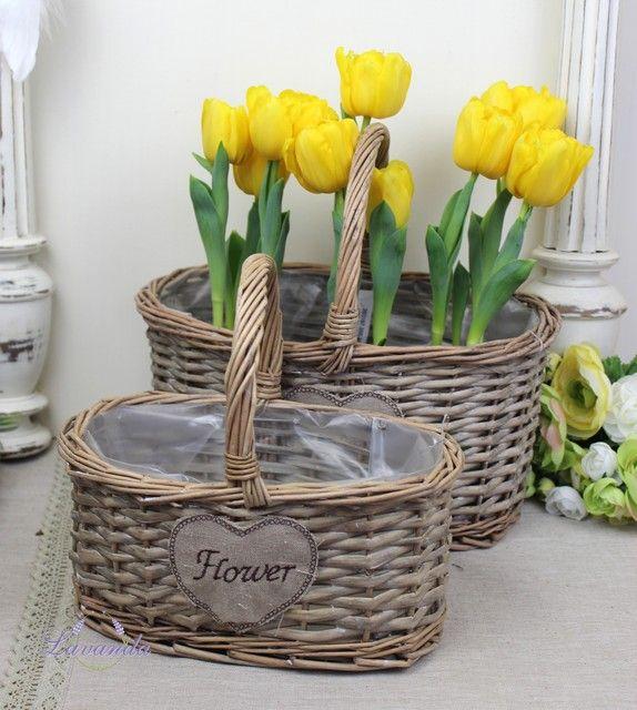 Prútené košíky Flower na pestovanie kvetov s rúčkou, sada 2 ks
