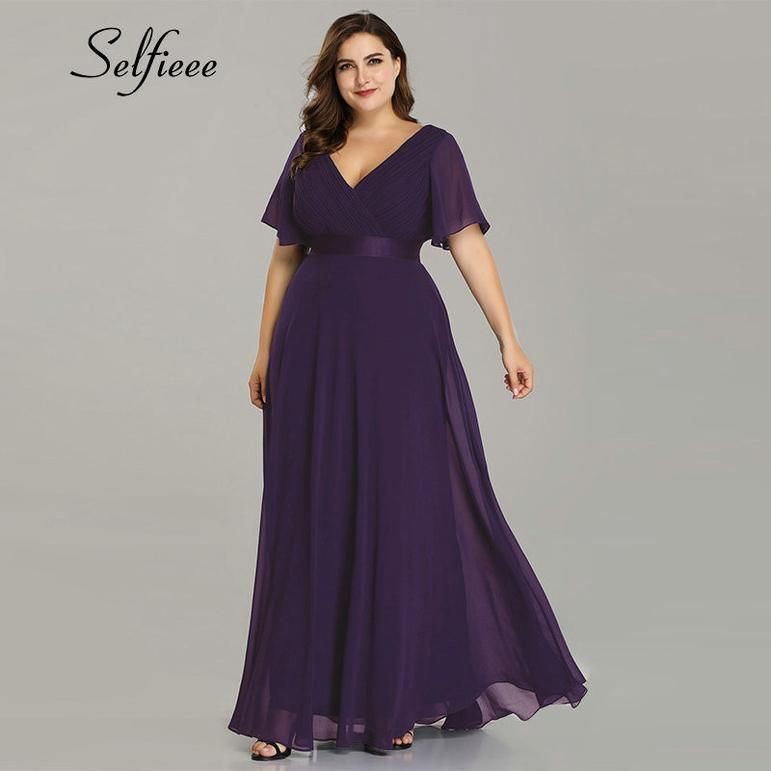 Plus Size V Neck Chiffon Party Dress   Bridesmaid dresses ...