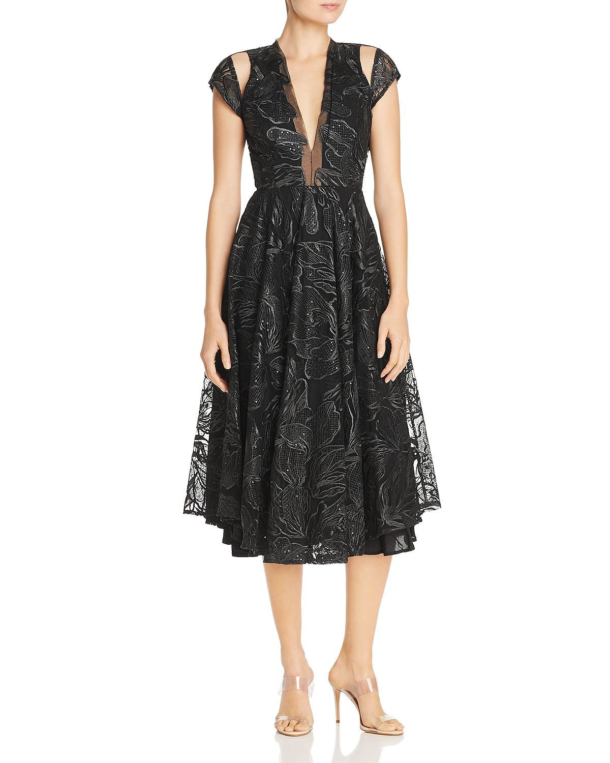 Alyssa Embroidered Mesh Fit-and-Flare Midi Dress in 2019 ...