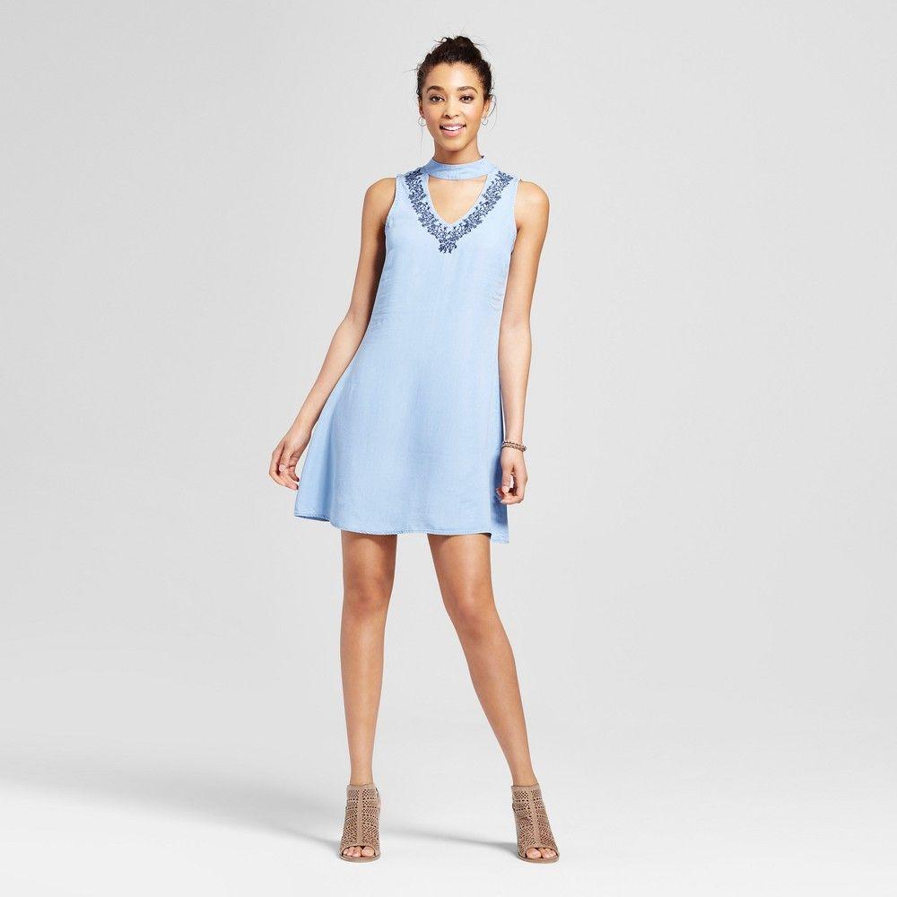 cd4c59d32e Women s Embroidered Choker Cut Out Dress - 3Hearts (Juniors ) Blue ...