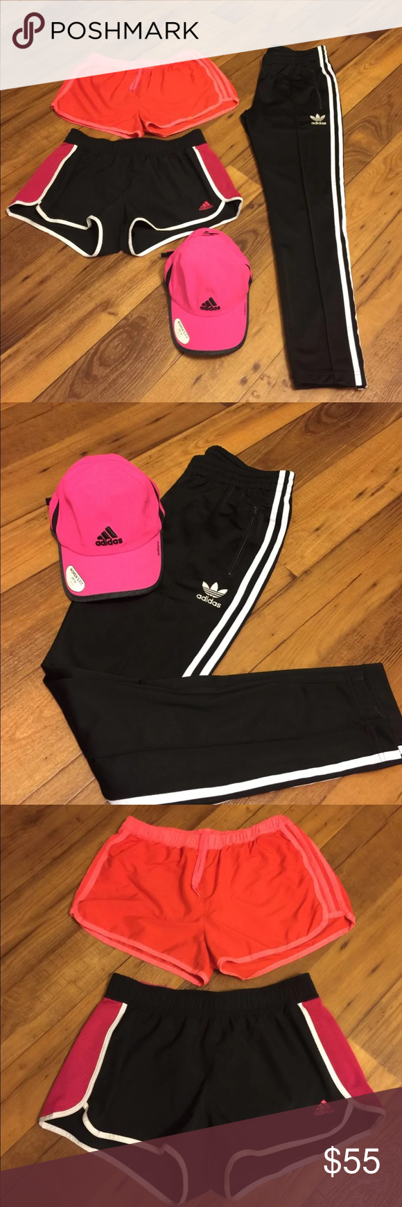 8e275c2f248 Adidas Bundle M Adidas Women s sz medium clothing bundle 2 pair running  shorts 1 fitted hat