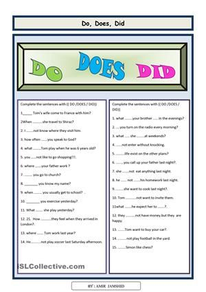 Do Does Did This Worksheet Is Designed To Practice Simple Present And Past And Can Help Elementar Grammar Questions Simple Past Tense Helping Verbs