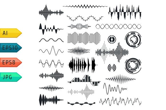 Vector sound waves set. by julia_musdotter on @creativemarket