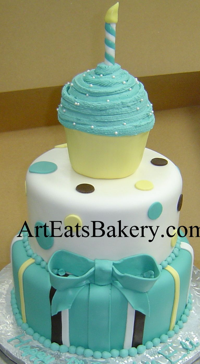 Three Tier Blue Brown White And Yellow Custom Boys 1st