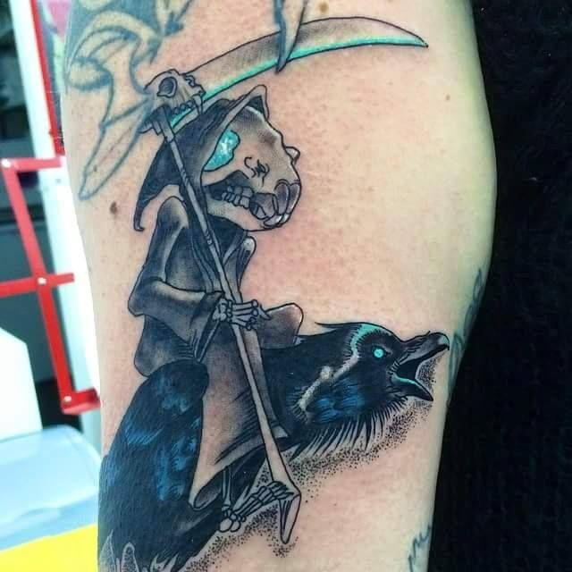 Discworld tattoo the grim squeaker and quoth for Twisted tattoo chicago