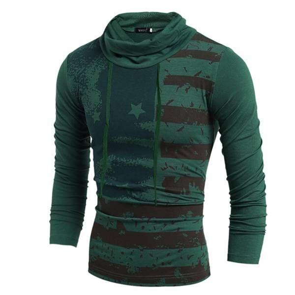 Mens European Style Printing Roll High Collar Long T-shirt Pullover at Banggood