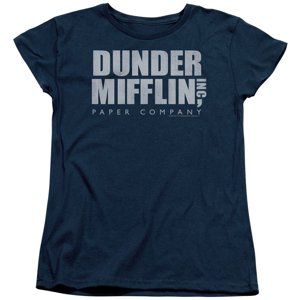 The Office/Dunder Mifflin Distressed Short Sleeve Women's Tee in Navy
