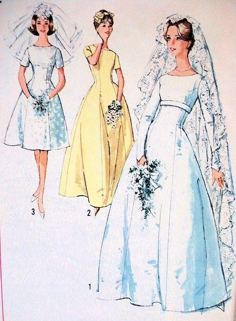 1960s Lovely Princess Line Wedding Gown Bridal Dress Pattern ...