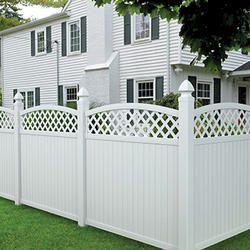 6 X6 White Vinyl Picketlock Arched Lattice Top Fence