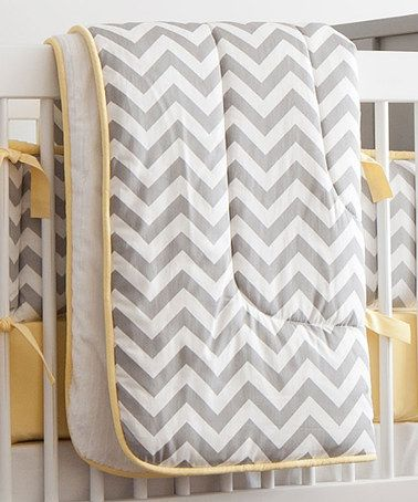 Take a look at this Gray & Yellow Chevron Comforter on zulily today!