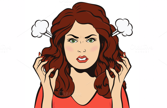Angry woman. Stressful girl. EPS+JPG | Angry women, Angry girl, Girl cartoon
