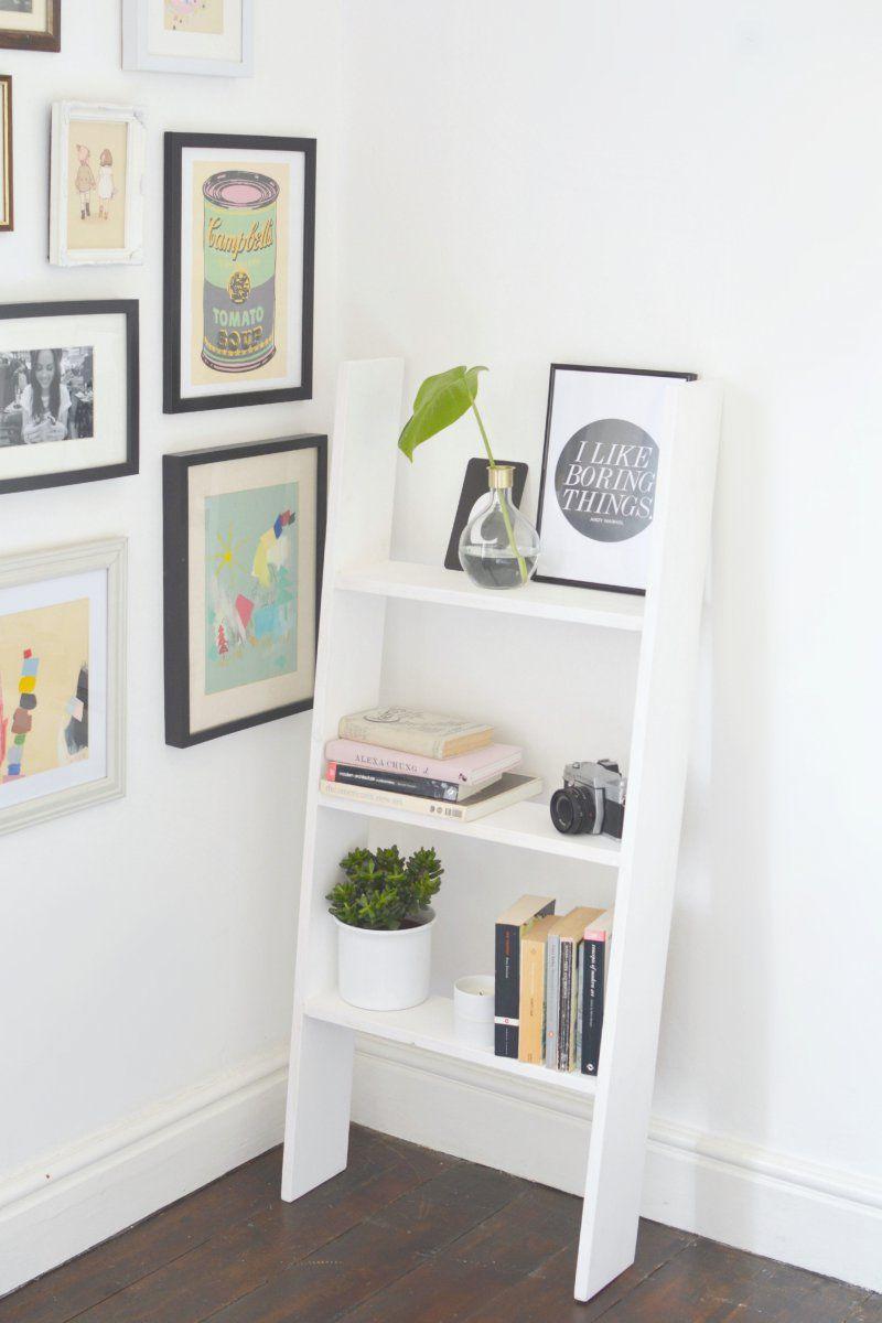 Diy ladder shelf dorm room wooden ladder shelf and shelves