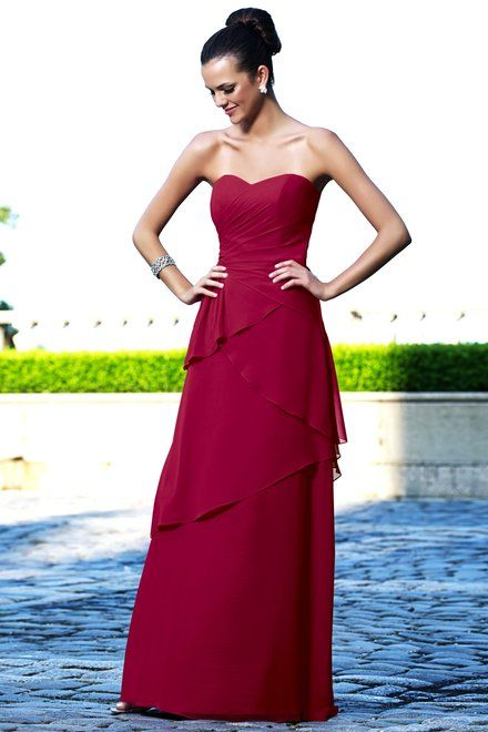 Charmeuse Strapless,Sweetheart,Tiered Style 894 Bridesmaid Dress by Alexia Designs