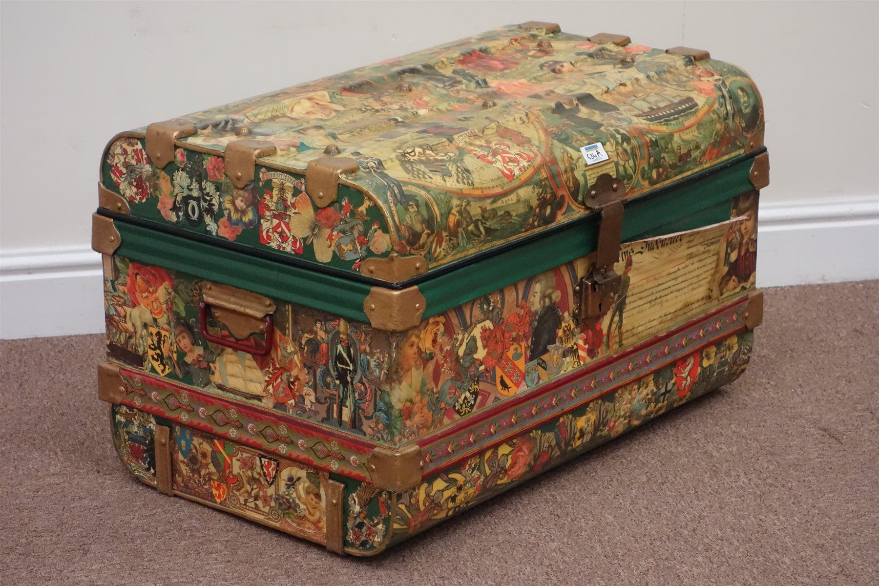 Vintage decoupage metal trunk with hinged lid (W72cm), and a