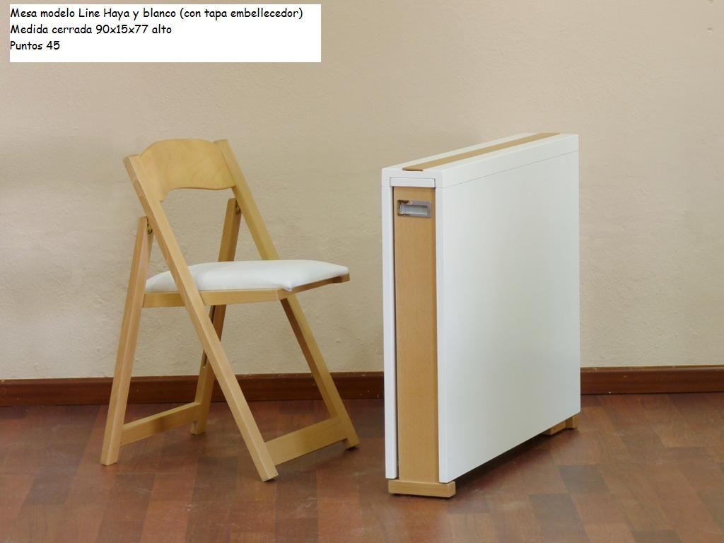 Mesa plegable peque a combinada en color haya y blanco cerrada mesas plegables pinterest - Mesa plegable pequena ...