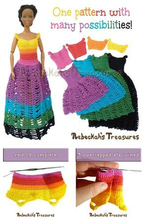 Free Crochet Mini Or Long Crochet Fashion Doll Dress Pattern ...