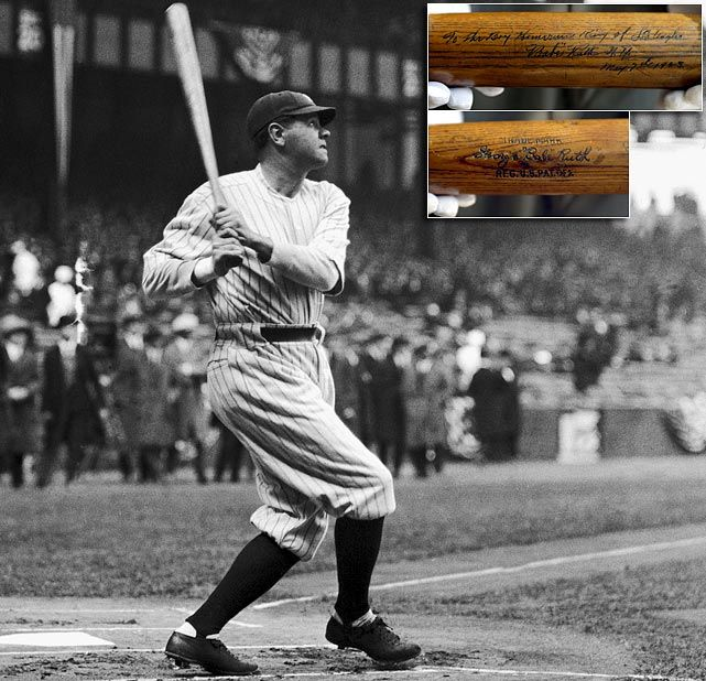 Babe Ruth's bat from his first home run at Yankee Stadium in 1923 was sold for a cool $1,265,000 at auction.