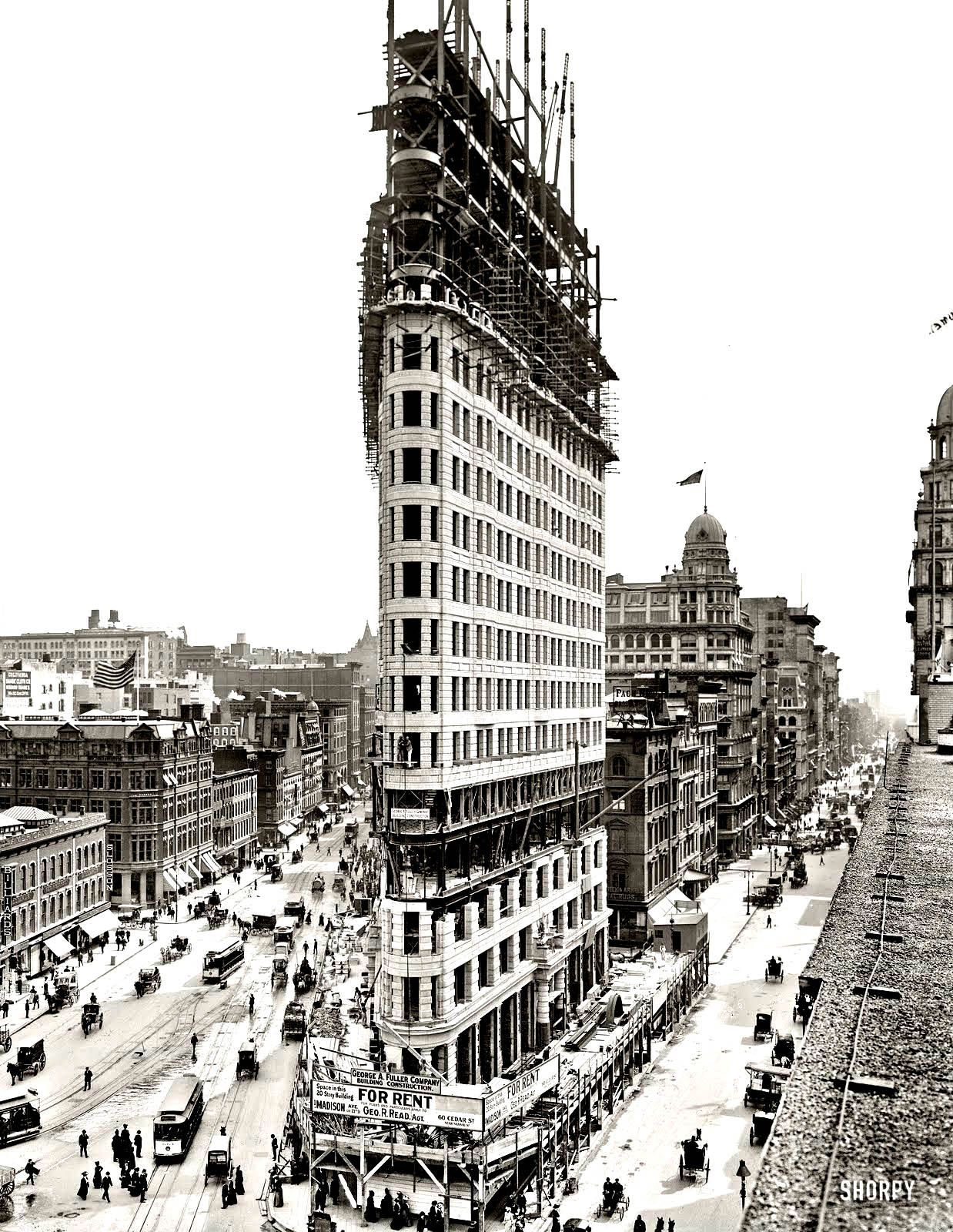 Free coloring page coloring-adult-new-york-flatiron. Black and white ...