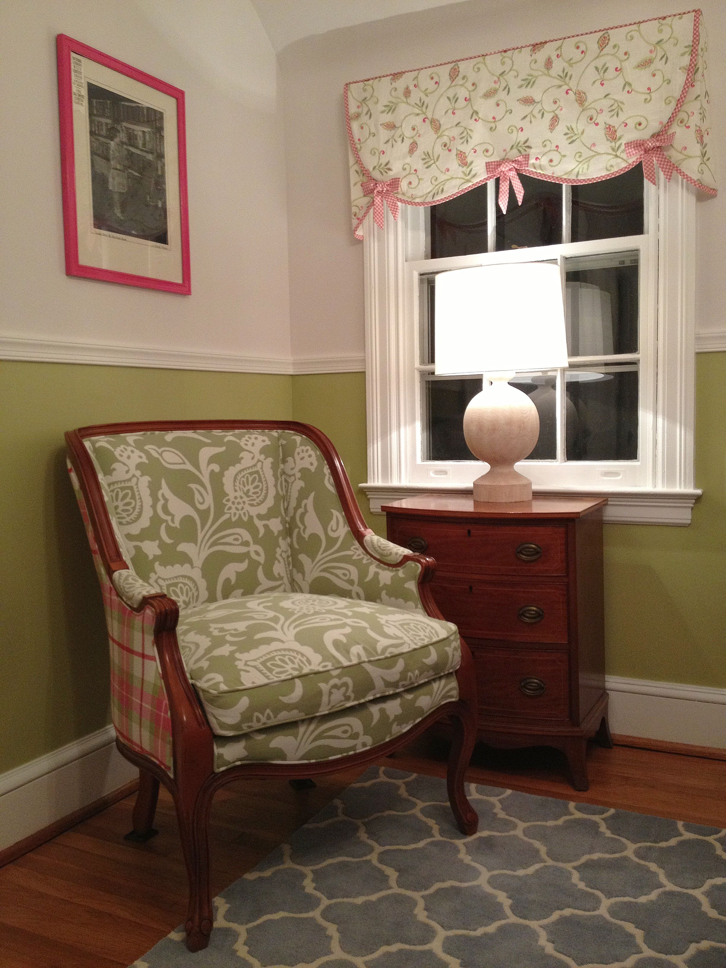 """This seating area is accompanied by an antique chest, made here in Baltimore (Potthast) and handed down from our daughter's Great-Great Grandparents, the recovered French Chair from her Great Grandparents and an award-winning photograph of her Grandmother, taken by her Great Grandfather...a little something old...  Green and Ivory """"adult-baby girl"""" themed room with pink accents. Self-painted lighting and lacquered frames, antique side table, custom embroidered draperies. Custom upholstered…"""