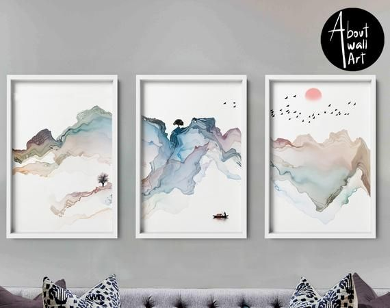 Home Decor Wall Hanging Set X 3 Prints Office Decor Living Etsy Wall Art Pictures Abstract Canvas Painting Home Decor Wall Art