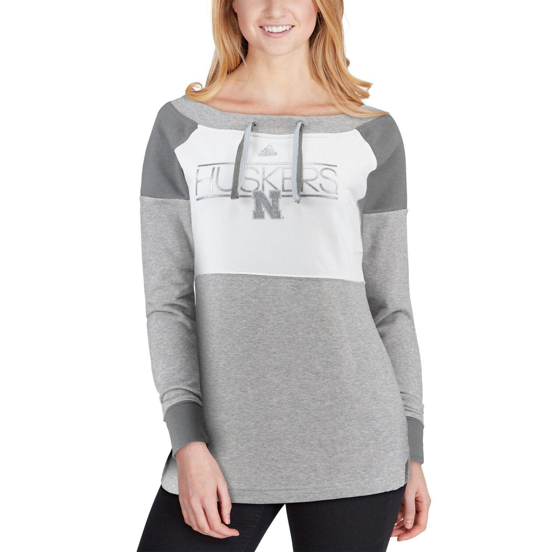 Women S Adidas White Charcoal Nebraska Cornhuskers Wide Neck French Terry Sweatshirt Terry Sweatshirt White Adidas White Charcoal [ 1500 x 1500 Pixel ]