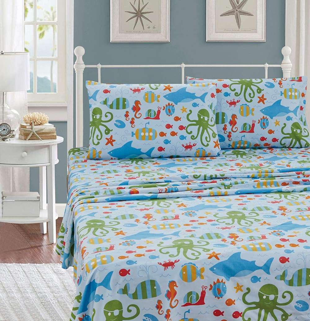 Better Home Style Multicolor Under The Sea Life Whales Fish Seahorse Sea Stars Octopus Lobster Kids Boys Teens 3 Piece In 2020 House Styles Twin Sheet Sets Ocean Room